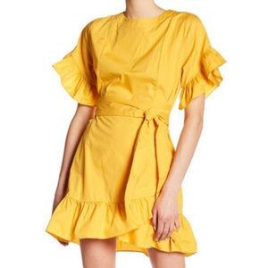 Socialite Ruffle Tie Waist Poplin wrap Dress